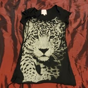 Tiger print Black Tee/Top/Tunic